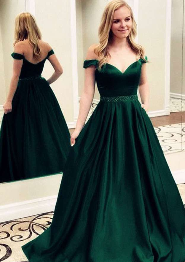 A-Line/Princess Off-The-Shoulder Sleeveless Sweep Train Charmeuse Prom Dress With Waistband Beading Pleated