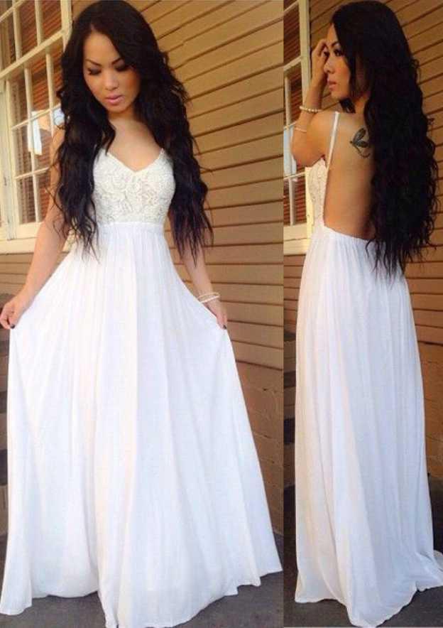 A-Line/Princess V Neck Sleeveless Sweep Train Chiffon Prom Dress With Lace