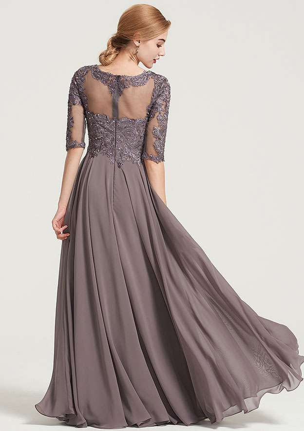 A-Line/Princess Bateau Half Sleeve Long/Floor-Length Chiffon Dress With Beading Appliqued