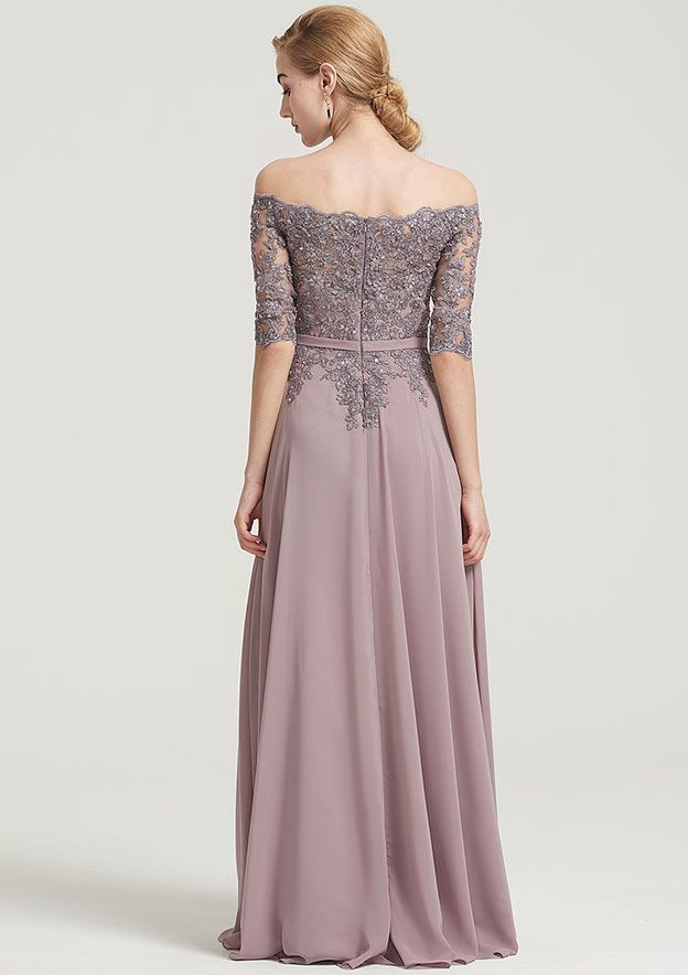 A-Line/Princess Off-The-Shoulder Half Sleeve Long/Floor-Length Chiffon Dress With Beading Appliqued