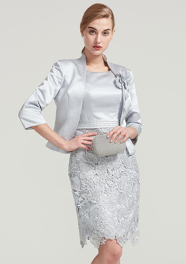Sheath/Column Bateau Sleeveless Knee-Length Lace Satin Mother Of The Bride Dress With Jacket Flower
