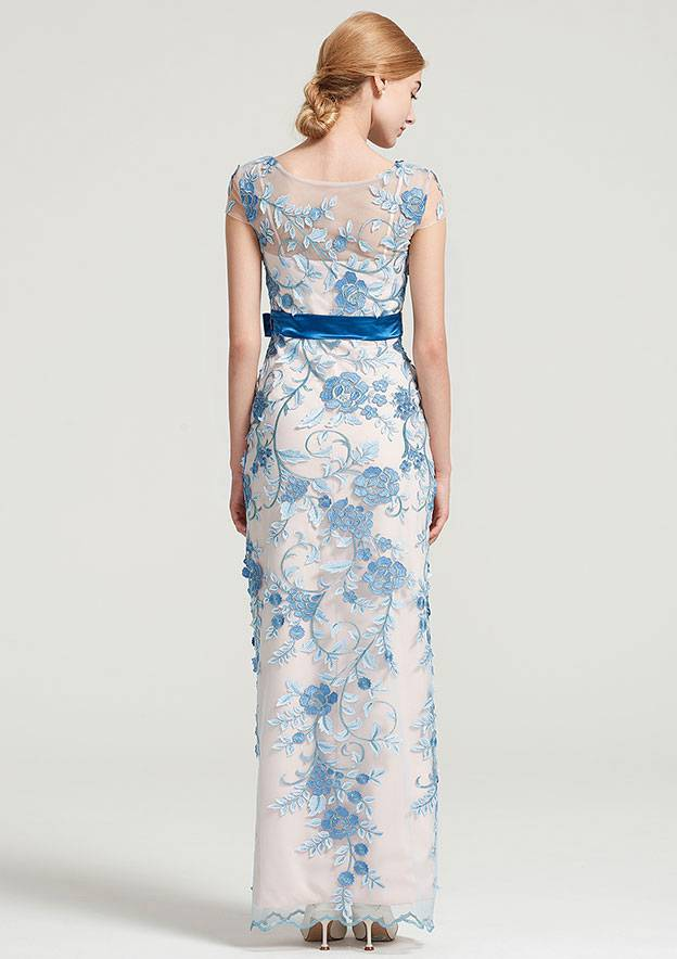 Sheath/Column Bateau Short Sleeve Long/Floor-Length Tulle Dress With Sashes Appliqued