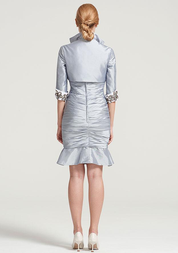 Half Sleeve Short Length Taffeta Jacket With Beading