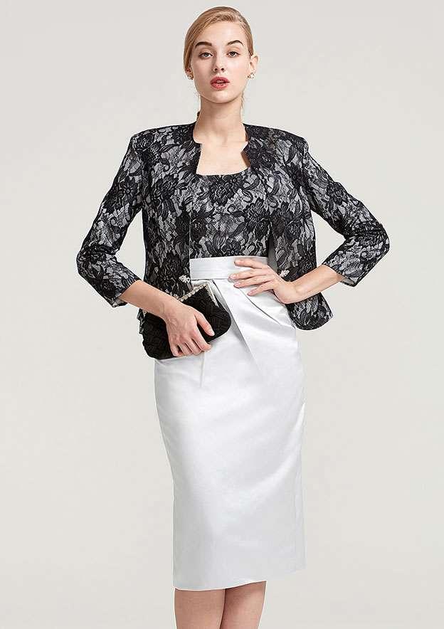 3/4 Sleeve Waist Length Lace Jacket With Rhinestone