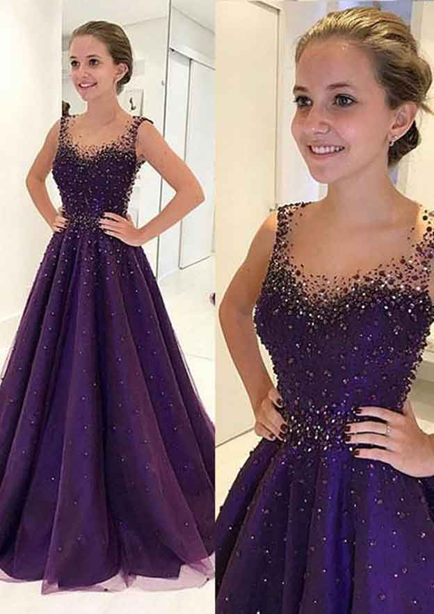 A-Line/Princess Scalloped Neck Sleeveless Long/Floor-Length Tulle Prom Dress With Crystal