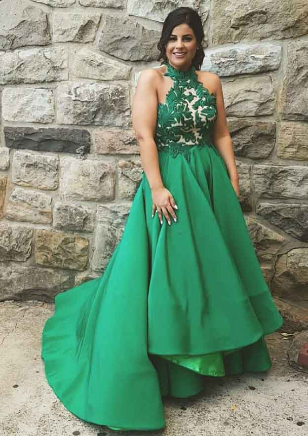 A-Line/Princess Halter Sleeveless Asymmetrical Satin Evening Dress With Pleated Appliqued