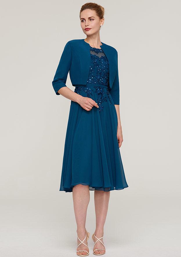 3/4 Sleeve Waist Length Chiffon Jackets & Wraps