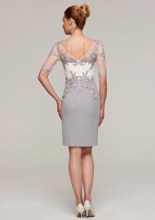 Sheath/Column V Neck Short Sleeve Knee-Length Chiffon Mother Of The Bride Dress With Jacket Appliqued