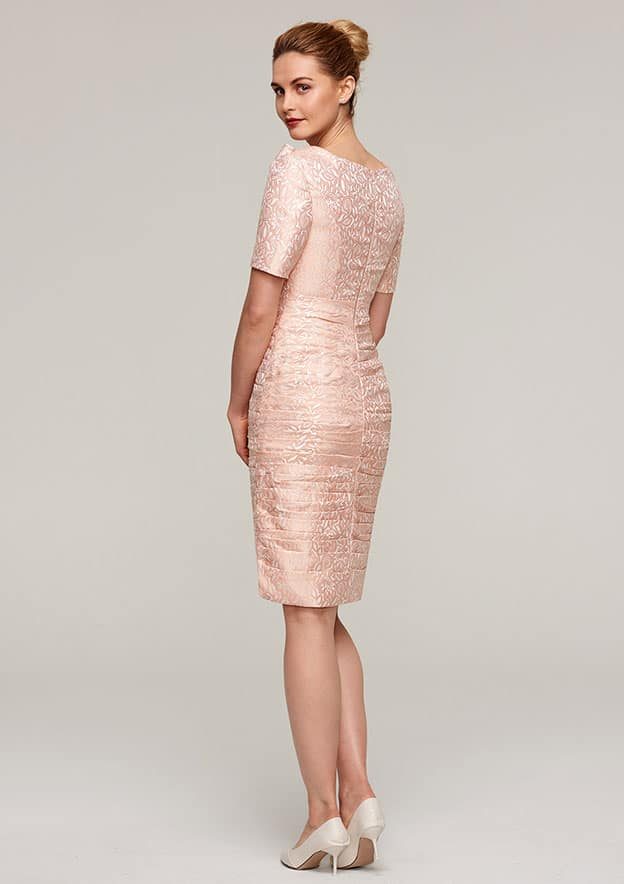 Sheath/Column Scalloped Neck Short Sleeve Knee-Length Lace Mother Of The Bride Dress With Pleated