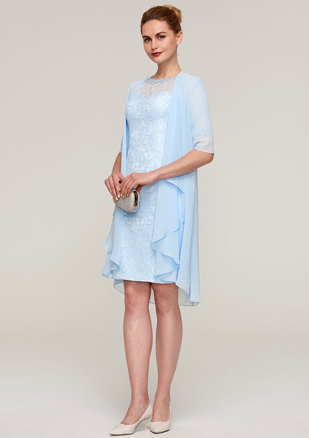 Sheath/Column Bateau Short Sleeve Knee-Length Lace Mother Of The Bride Dress With Jacket Beading