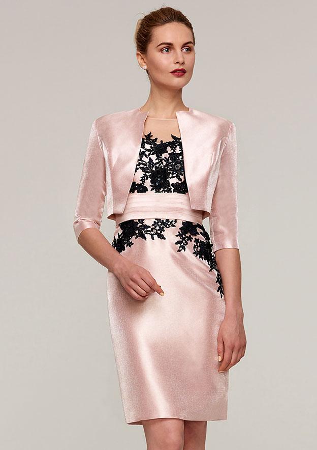 Sheath/Column Bateau Half Sleeve Knee-Length Satin Mother Of The Bride Dress With Jacket Appliqued Sashes