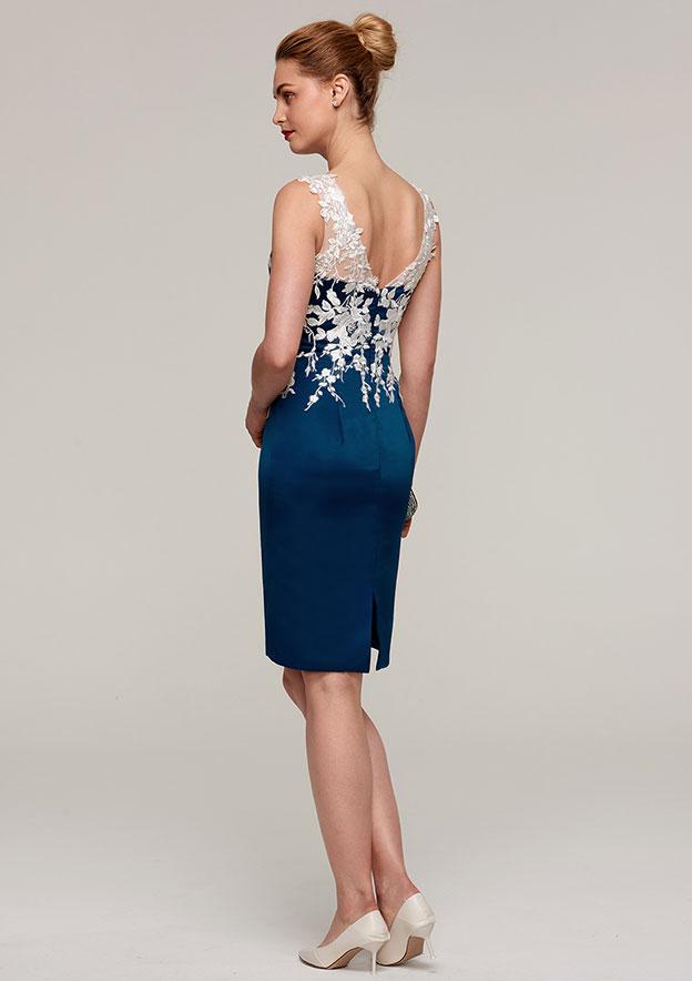 Sheath/Column Bateau Sleeveless Knee-Length Satin Mother Of The Bride Dress With Jacket Appliqued