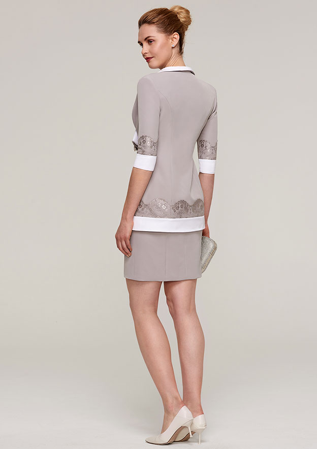 3/4 Sleeve Waist Length Elastic Satin Jackets & Wraps With Appliqued Flowers