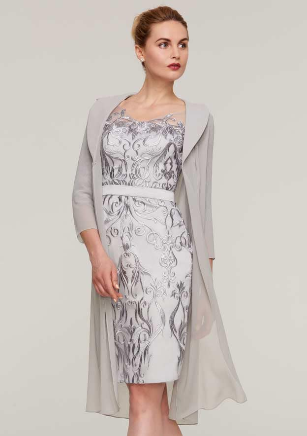 Sheath/Column V Neck 3/4 Sleeve Knee-Length Chiffon Mother Of The Bride Dress With Jacket Appliqued Waistband
