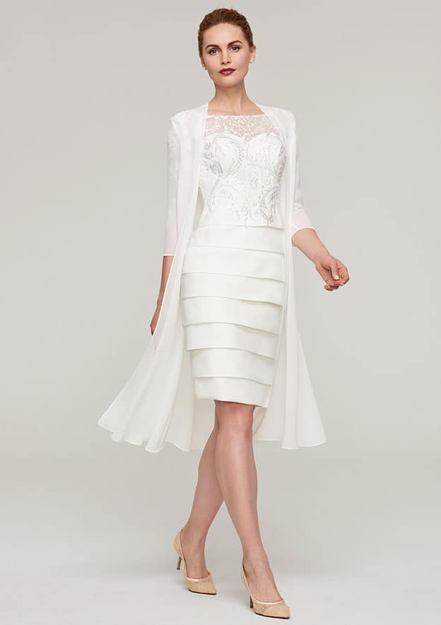 Sheath/Column Bateau 3/4 Sleeve Knee-Length Elastic Satin Mother Of The Bride Dress With Jacket Appliqued Pleated