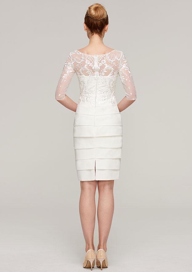 Sheath/Column Bateau 3/4 Sleeve Knee-Length Elastic Satin Mother Of The Bride Dress With Jacket Appliqued Pleated