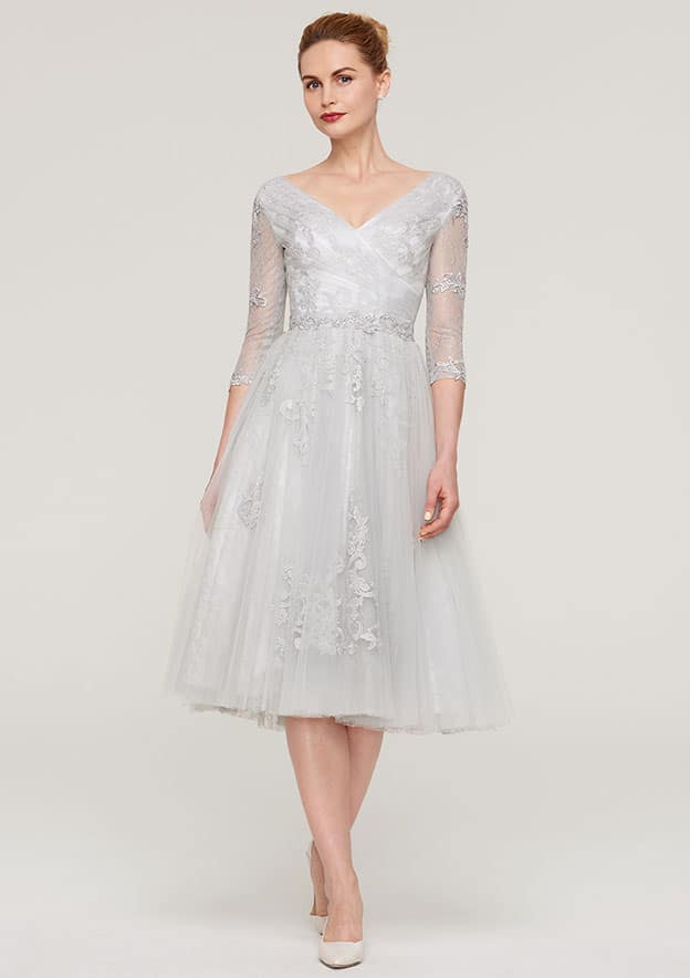 a3013a98795 A-line Princess V Neck 3 4 Sleeve Tea-Length Tulle Mother of the Bride  Dress With Waistband Appliqued Lace