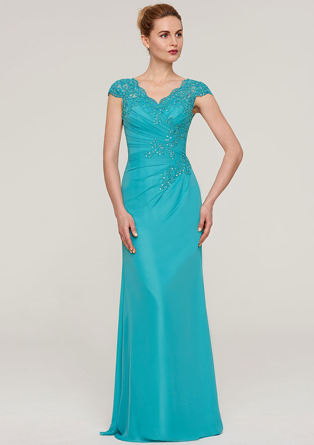 Sheath/Column V Neck Sleeveless Long/Floor-Length Chiffon Mother Of The Bride Dress With Pleated Appliqued Beading