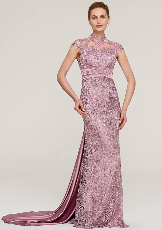 Sheath/Column High-Neck Sleeveless Court Train Lace Mother Of The Bride Dress With Pleated