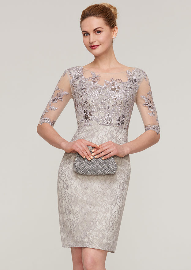 Sheath/Column Bateau Half Sleeve Knee-Length Lace Mother Of The Bride Dress With Sequins Appliqued