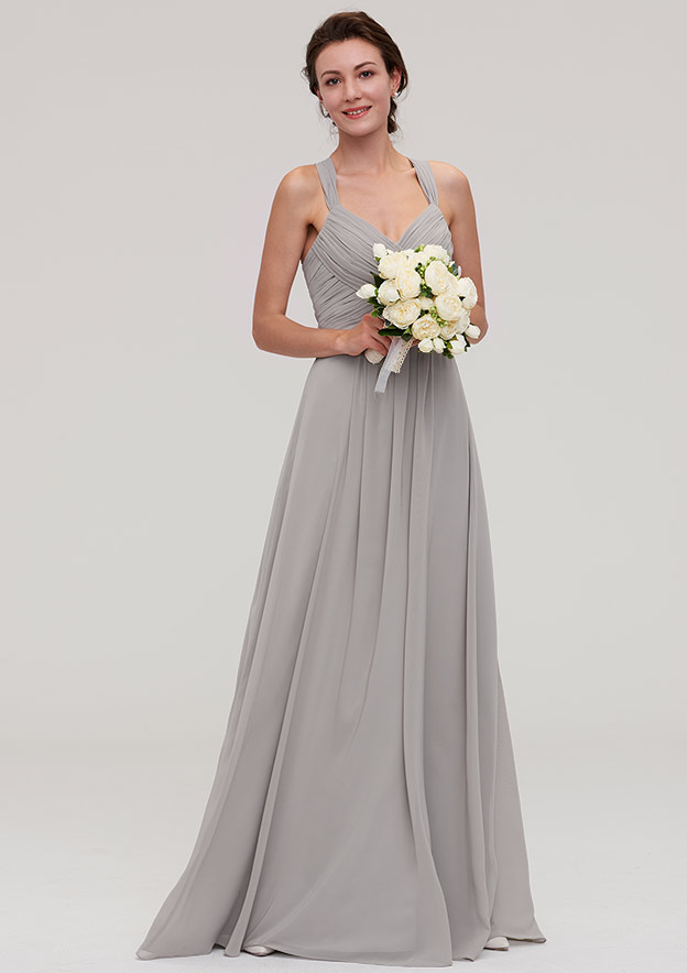 A-Line/Princess Sweetheart Sleeveless Long/Floor-Length Chiffon Bridesmaid Dress With Pleated Beading