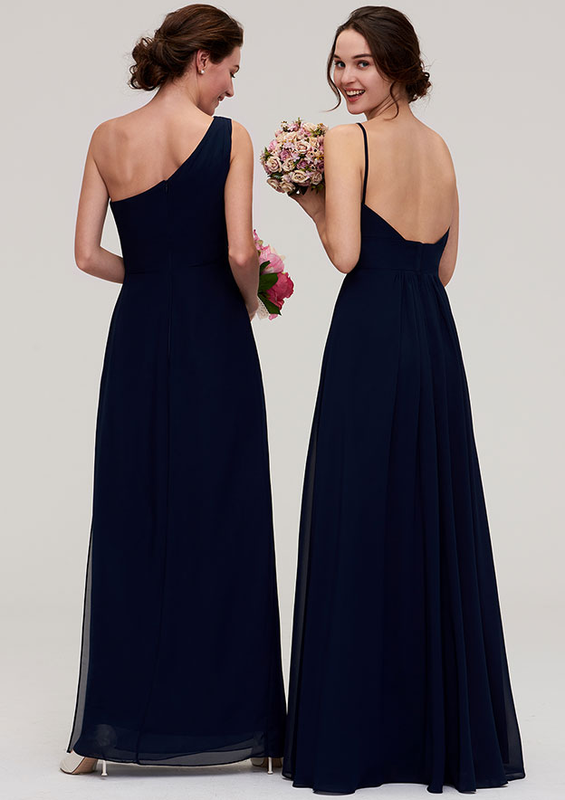 A-Line/Princess V Neck Sleeveless Long/Floor-Length Chiffon Bridesmaid Dress With Pleated