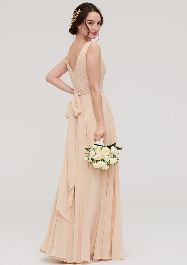 A-Line/Princess V Neck Sleeveless Long/Floor-Length Chiffon Bridesmaid Dress With Sashes Pleated