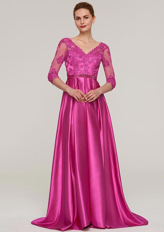 A-Line/Princess V Neck 3/4 Sleeve Sweep Train Charmeuse Mother Of The Bride Dress With Sashes Appliqued Beading