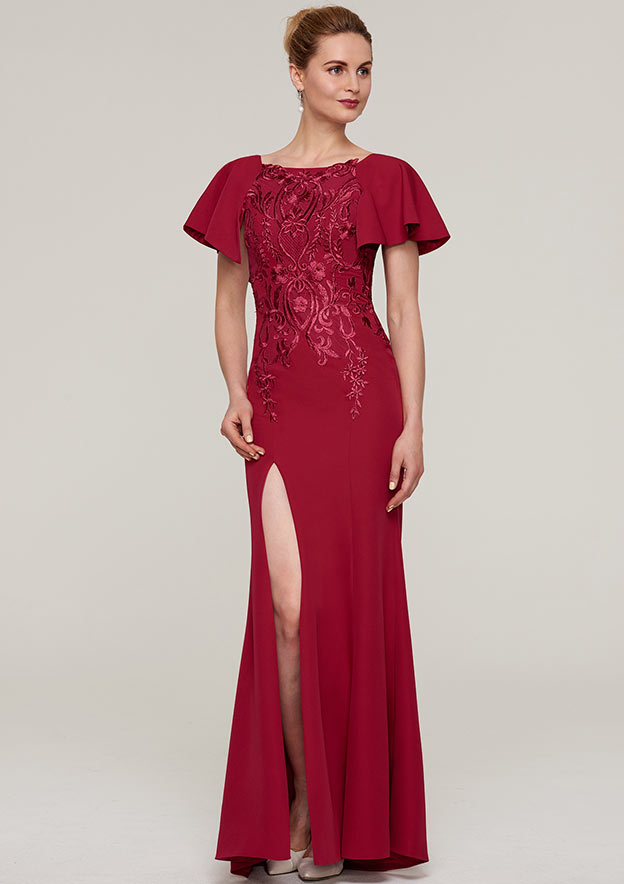 Sheath/Column Bateau Short Sleeve Long/Floor-Length Jersey Mother Of The Bride Dress With Split Appliqued