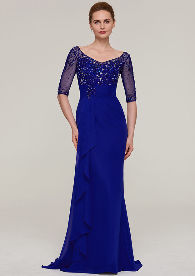 Sheath/Column V Neck Half Sleeve Sweep Train Chiffon Mother Of The Bride Dress With Crystal Detailing Pleated Ruffles