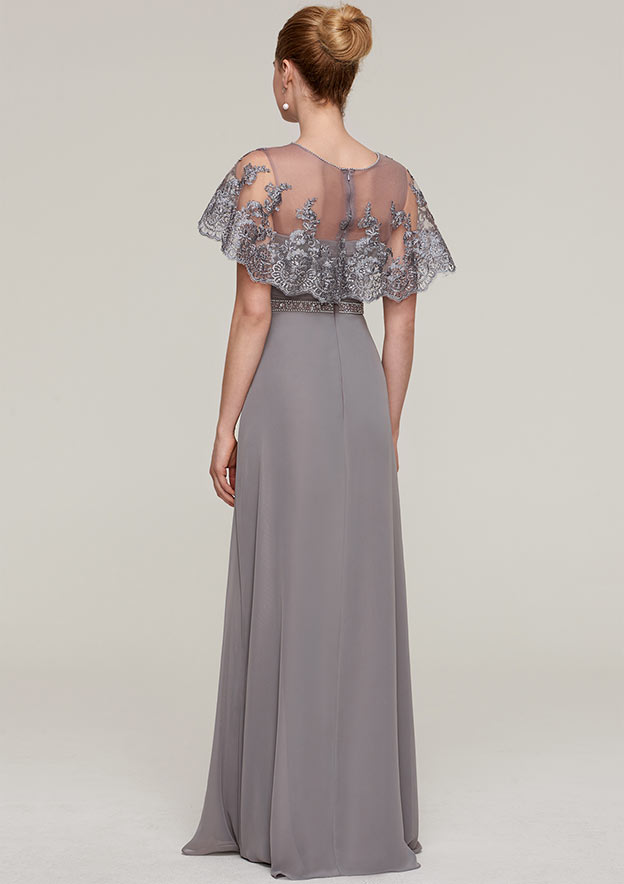 Sheath/Column Bateau Short Sleeve Long/Floor-Length Chiffon Mother Of The Bride Dress With Beading Appliqued