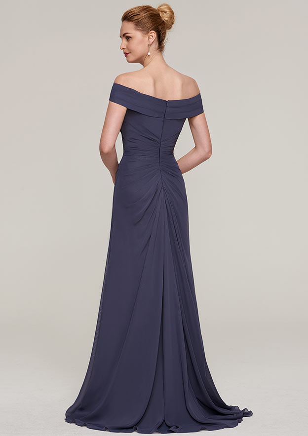 Sheath/Column Off-The-Shoulder Sleeveless Sweep Train Chiffon Evening Dress With Pleated Split