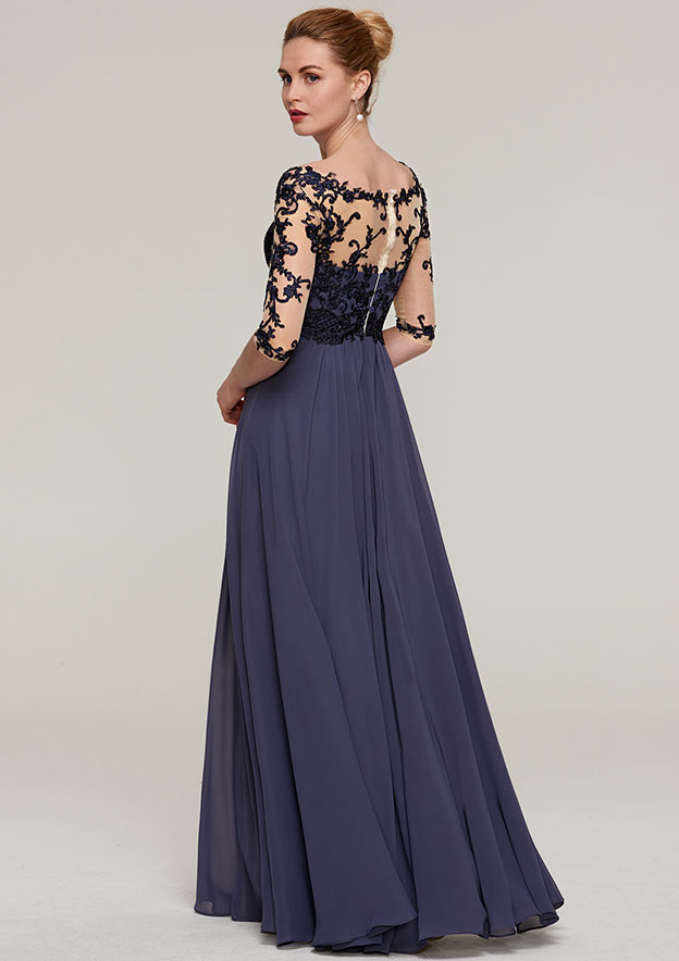 A-Line/Princess V Neck Half Sleeve Long/Floor-Length Chiffon Evening Dress With Appliqued