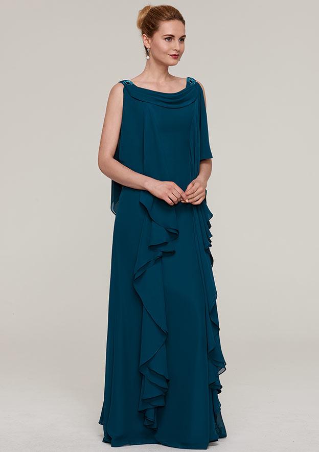 Sheath/Column Cowl Neck Sleeveless Long/Floor-Length Chiffon Evening Dress With Beading Ruffles
