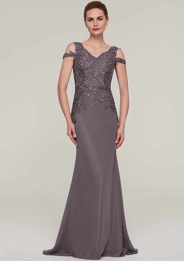 Sheath/Column V Neck Sleeveless Sweep Train Chiffon Evening Dress With Sequins Appliqued