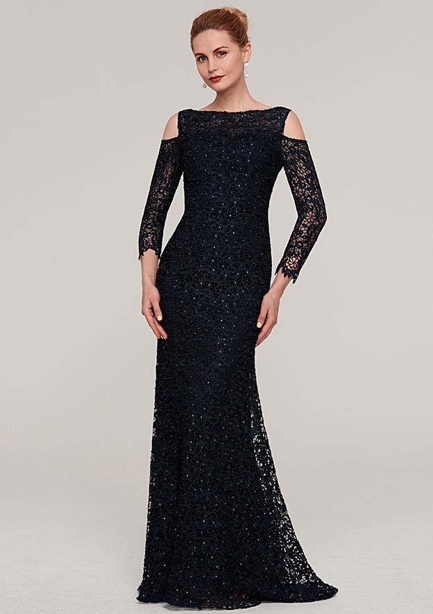 Sheath/Column Bateau 3/4 Sleeve Long/Floor-Length Lace Evening Dress With Beading