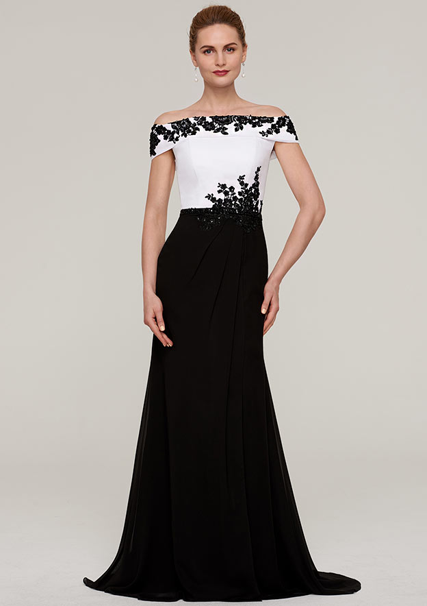 A-Line/Princess Off-The-Shoulder Sleeveless Sweep Train Chiffon Evening Dress With Split Beading Appliqued