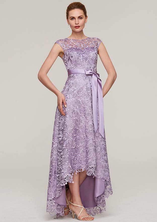 A-Line/Princess Bateau Sleeveless Asymmetrical Lace Evening Dress With Sashes