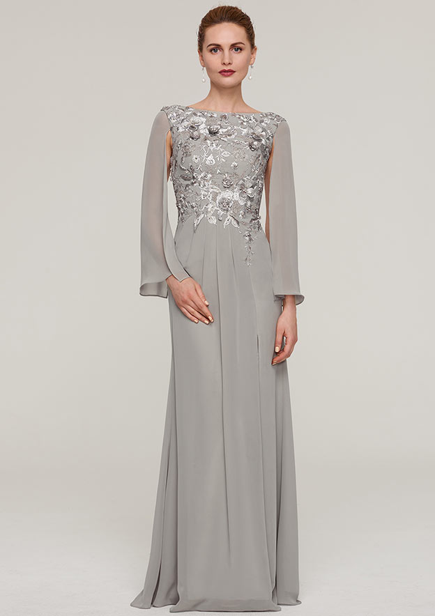 A-Line/Princess Bateau Full/Long Sleeve Long/Floor-Length Chiffon Evening Dress With Split Appliqued