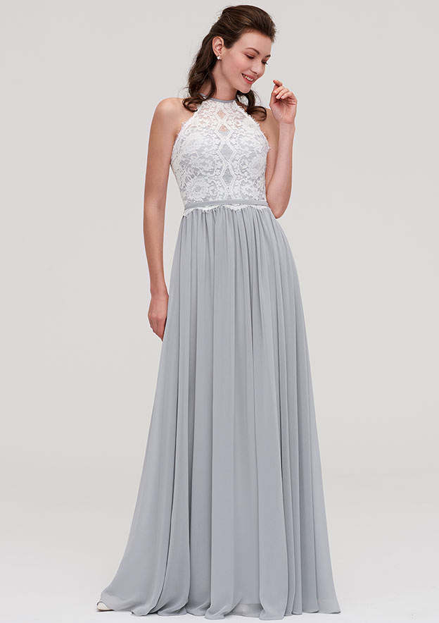 5fb1eb66ae A-line Princess Scoop Neck Sleeveless Long Floor-Length Chiffon Bridesmaid  Dresses With Lace