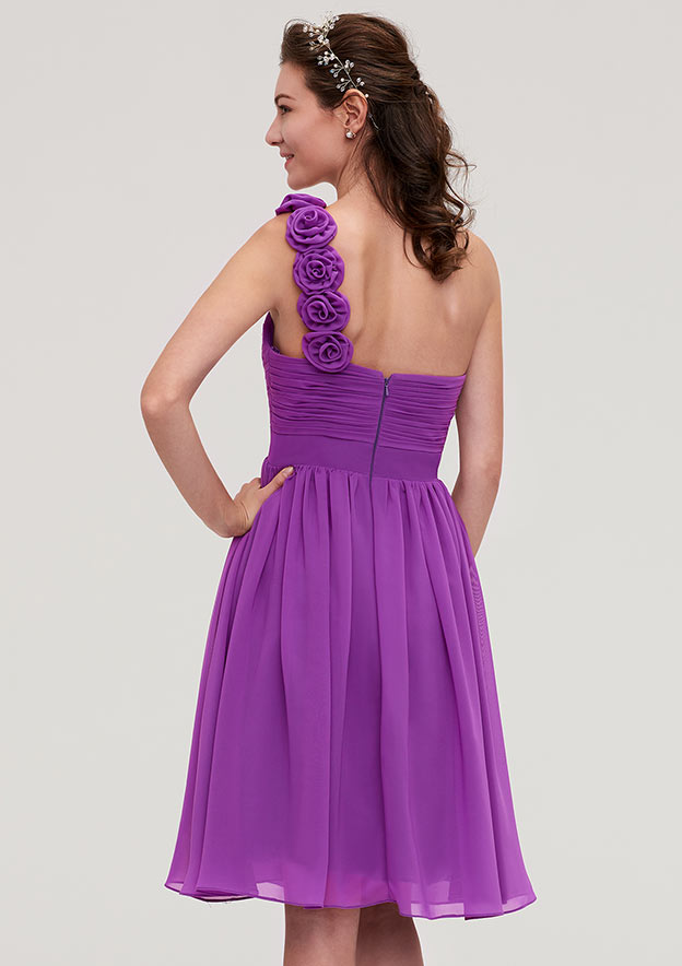 A-Line/Princess One-Shoulder Sleeveless Knee-Length Chiffon Bridesmaid Dresses With Pleated Flowers