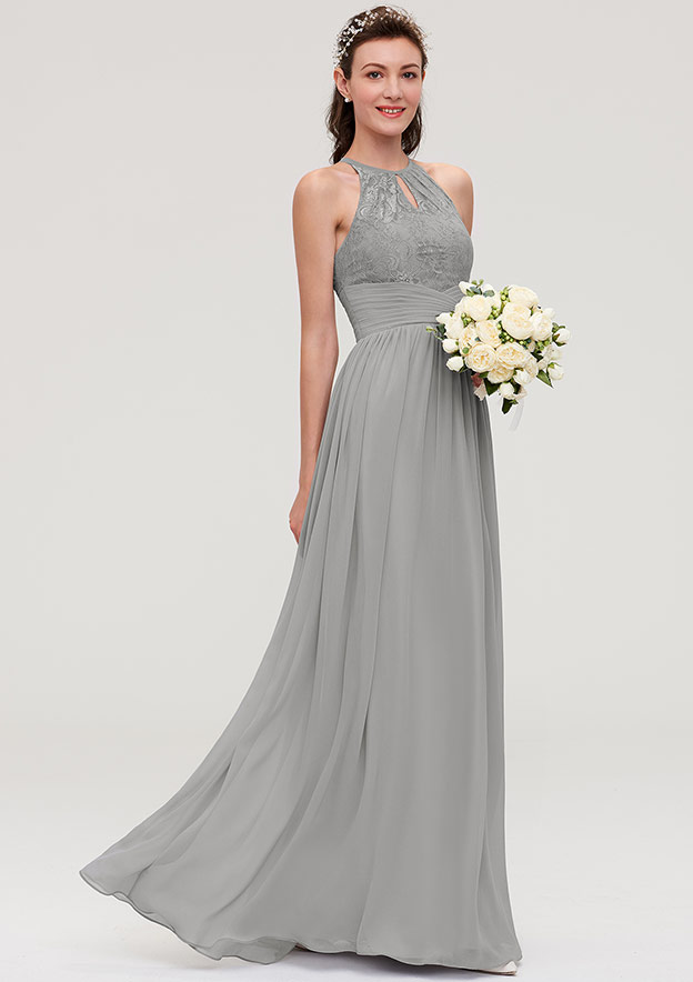 A-Line/Princess Scoop Neck Sleeveless Long/Floor-Length Chiffon Bridesmaid Dresses With Pleated Lace
