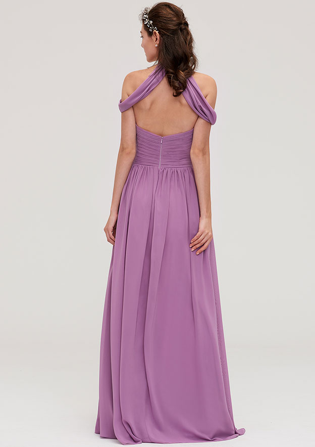 A-Line/Princess Scoop Neck Sleeveless Long/Floor-Length Chiffon Bridesmaid Dresses With Pleated