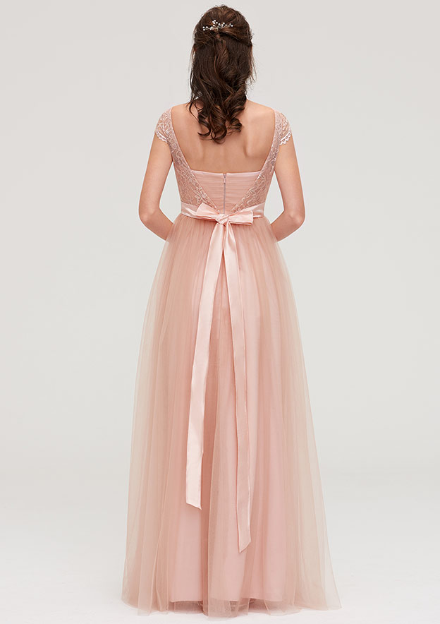 A-Line/Princess Bateau Sleeveless Long/Floor-Length Tulle Bridesmaid Dresses With Sashes Lace