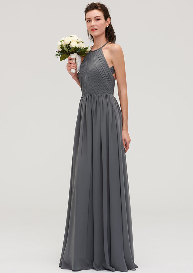A-Line/Princess Halter Sleeveless Long/Floor-Length Chiffon Bridesmaid Dresses With Pleated