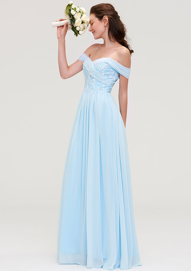 A-Line/Princess Off-The-Shoulder Sleeveless Long/Floor-Length Chiffon Bridesmaid Dresses With Pleated Appliqued