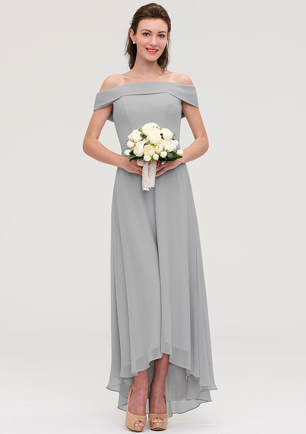 A-Line/Princess Off-The-Shoulder Sleeveless Asymmetrical Chiffon Bridesmaid Dresses