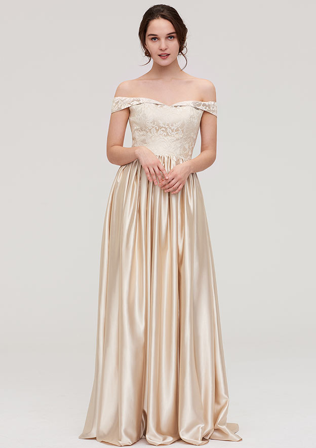 A-Line/Princess Off-The-Shoulder Sleeveless Long/Floor-Length Charmeuse Bridesmaid Dress With Appliqued