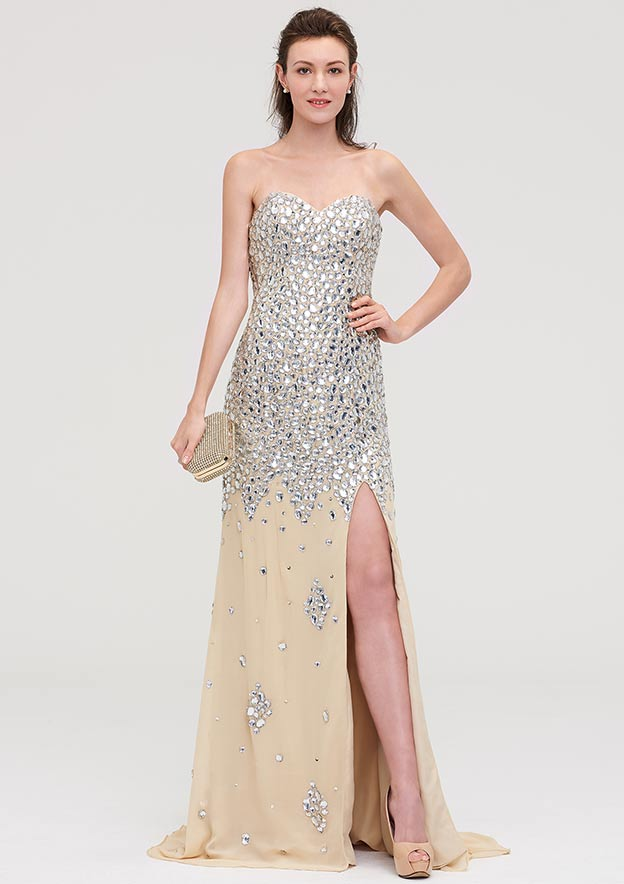 Sheath/Column Sweetheart Sleeveless Court Train Chiffon Evening Dress With Beading