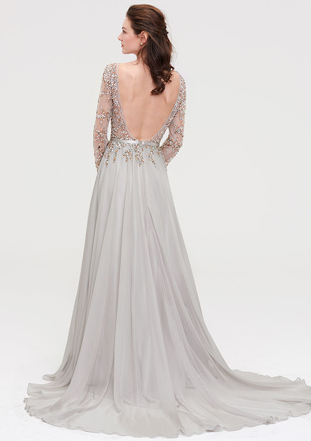 A-Line/Princess Bateau Full/Long Sleeve Court Train Chiffon Prom Dress With Beading